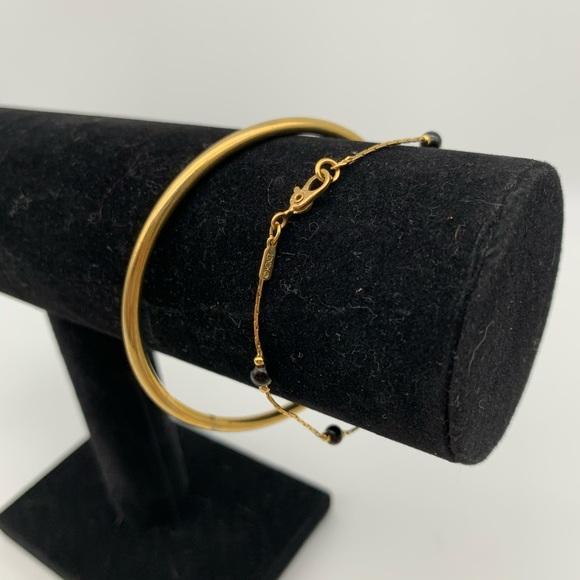 Lot of 2 Monet gold tone bangle & hook bracelets